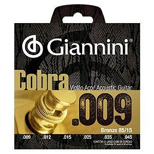 Encordoamento Cordas Giannini Violão Aço 09 Cobra GEEWAK