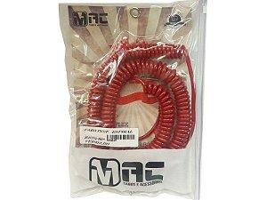 Cabo espiral p10 90 vermelho 9.15mt anti ruido  mac cabos