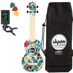 Ukulele Ghost florido aloha Soprano Akahai capa Afinador