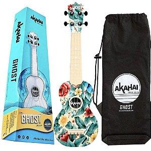 Ukulele Ghost florido aloha Soprano Akahai capa