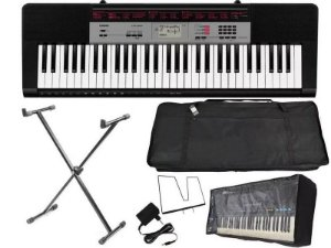 teclado casio ctk1550 61 teclas completo pedestal suporte + capa bag + fonte bivolt + forro