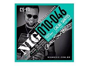Encordoamento Guitarra 010 Cacau Santos Nig + Mi Extra + palheta