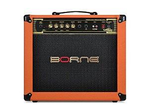 Amplificador Borne Vorax 1050 50w cor Laranja + fonte 5 pedais