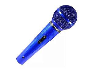 Microfone Colorido Azul Leson Mc200 Com Cabo Profissional