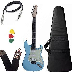 Kit Guitarra Stratocaster Azul Claro Tagima Memphis Mg30