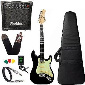 Kit Guitarra Preto Fosco Tagima Memphis Mg30 Cubo Sheldon