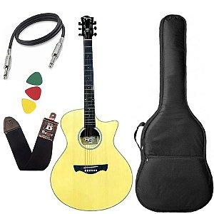 Violão Tagima Tw29 Natural Woodstock Elétrico folk aço bag
