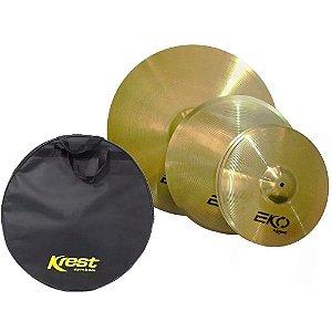 Kit Set Pratos Bateria Ecolset1 Eko 14 16 20 Krest Brass Bag