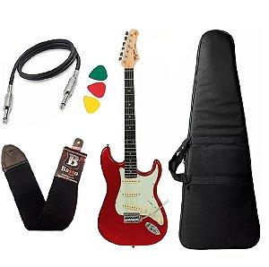 Kit Guitarra Tagima Tg500 Vermelho Woodstock Strato Candy Apple Capa Bag