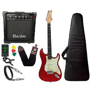 Guitarra Tagima Tg500 Vermelho Cubo Amplificador Sheldon