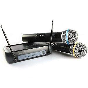Microfone Sem Fio Duplo Lyco Vh02 Max Mm Profissional De Mão