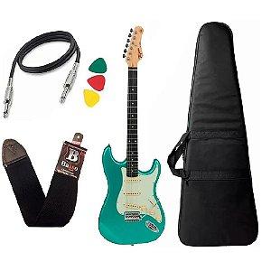 Guitarra Tagima Tg500 Verde Surf Green Claro Capa Cabo alça