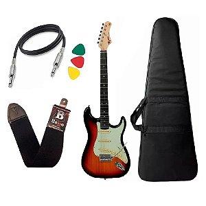 Kit Guitarra Tagima Tg500 Sunburst Capa Bag Correia Palhetas
