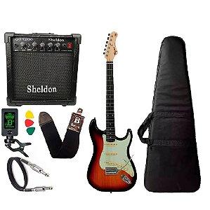 Kit Guitarra Tagima Tg500 Sunburst caixa amplificador Sheldon