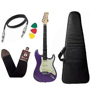Kit Guitarra Tagima Tg500 Roxo Metallic Purple correia Capa Bag