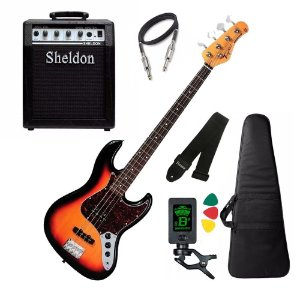 Baixo Tagima Tw73 Woodstock Sunburst cubo amplificador Sheldon