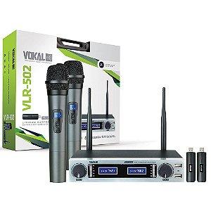 Microfone Sem Fio Vokal Vlr502 Duplo Lithium Recarregavel
