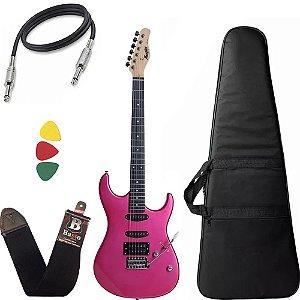 Kit Guitarra Tagima Memphis Mg260 Azalea Pink Rosa Capa Bag