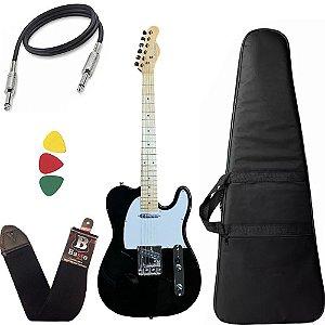 Guitarra Telecaster Strinberg Tc120s Preto Com Capa Bag Alça