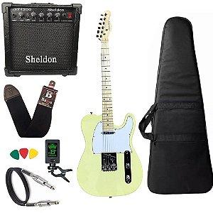 Kit Guitarra Telecaster Strinberg Tc120s Creme Amplificador