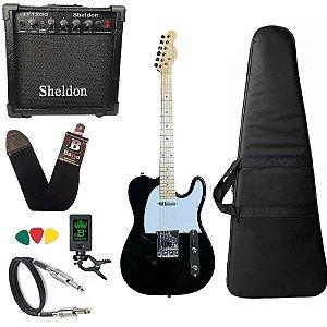 Kit Guitarra Telecaster Strinberg Tc120s Preto Amplificador