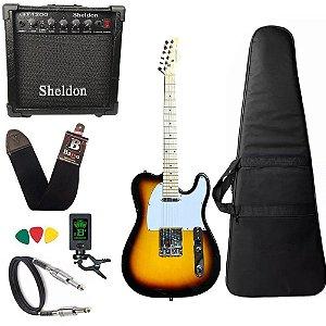 Kit Guitarra Telecaster Strinberg Tc120s sunburst Amplificador