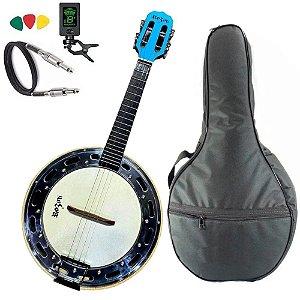 Banjo Elétrico Rozini Azul Rj11 Afinador Capa bag