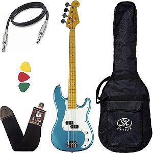 Baixo Sx Spb57 Lpb Azul Precision 4 Cordas Com capa Bag