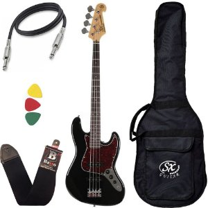 Kit Baixo Sx Bd1 Preto Jazz Bass 4 Cordas Passivo Custom Bag