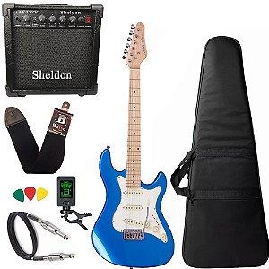 Guitarra Strinberg Sts100 Mbl Azul Strato Caixa Amplificador
