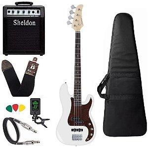 Kit Baixo Strinberg Pbs40 Wh Branco Precision + Amplificador