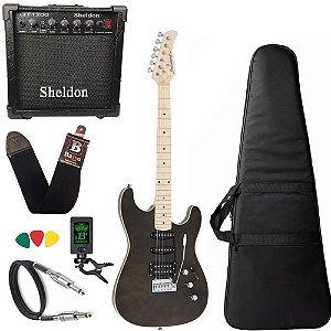 Kit Guitarra Strinberg Sgs180 Preto Bag Amplificador Sheldon