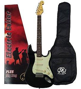 Guitarra Sx Vintage Sst62 Bk Preta Com Capa Bag