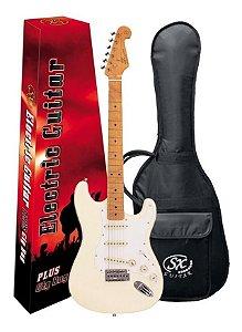 Guitarra Sx Vintage Sst57 Branco Serie Plus Com Capa