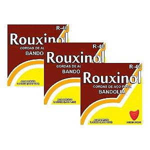Kit 3 Encordoamentos Rouxinol Bandolim R40 + Palheta Brinde