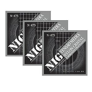Kit 3 Encordoamentos Violão Nylon Nig Cristal Prateada N475 Clássico Tensão Média