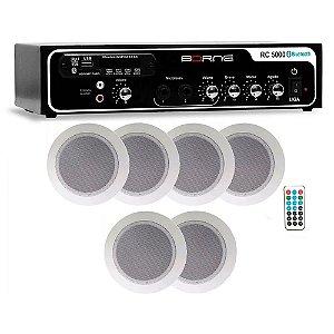 Kit Som Ambiente Rc5000 Borne Usb Fm 6 Arandelas Teto Gesso