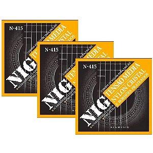 Kit 3 Encordoamentos De Violão Nylon Nig N415 Clássico Cristal Prateado Tensão Média Corda (ré) Brinde