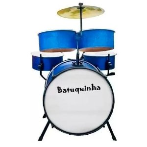 Bateria Infantil Rmv Batuquinha Azul Para 2 A 10 Anos