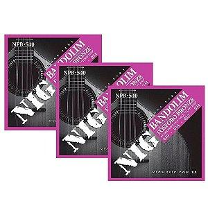 Kit 3 Encordoamentos Bandolim Aço Bronze Nig Npb540 010 034