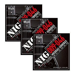 Kit 3 Encordoamentos Guitarra Aço 09 046 Nig Nh66 Híbrida