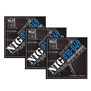 Kit 3 Encordoamentos Guitarra Aço 010 049 Nig Nh67 Híbrida