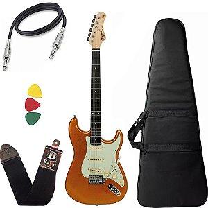 Kit Guitarra Tagima Tg500 Dourado Gold Woodstock Capa Bag Alça
