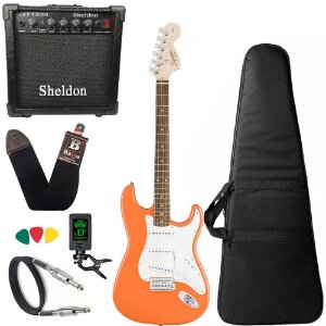 Guitarra Squier Affinity Stratocaster Laranja Amplificador
