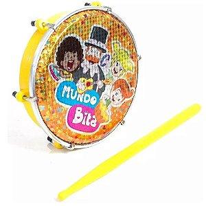 Tamborim Luen Mundo Bita Infantil Amarelo Com Baqueta Abs 6