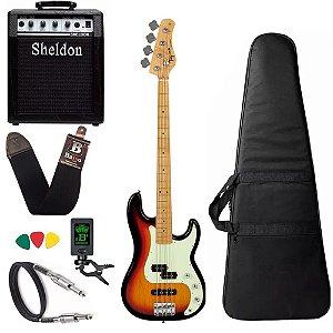 Kit Baixo Tagima Tw65 Woodstock Precision Sunburst Amplificador Sheldon