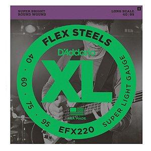 Encordoamento Daddario Baixo 4 Cordas Flex Steels 040 Efx220