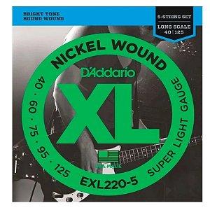 Encordoamento Daddario Baixo 5 Cordas Nickel 040 Exl220-5