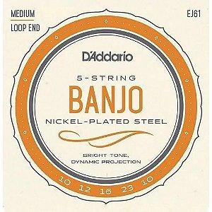 Encordoamento Daddario Banjo 5 Cordas 010 Média Nickel Ej61