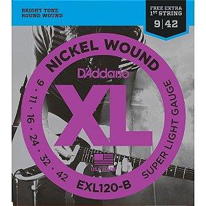 Encordoamento Daddario Guitarra 009 Nickel Exl120B+Pl009